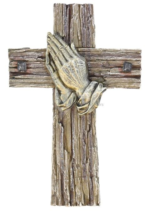 Decorative Crosses For The Home Decorative Praying Weathered Barnwood Look Square Nails Wall Cross Ebay