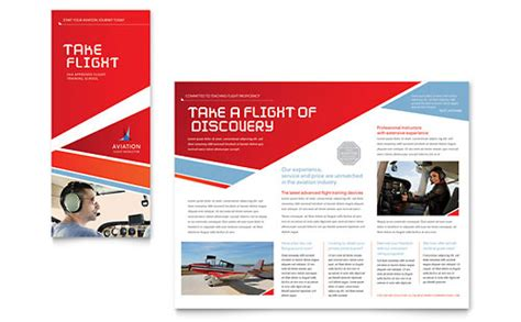 Pages App Rack Card Template by Aviation Flight Instructor Brochure Template Design