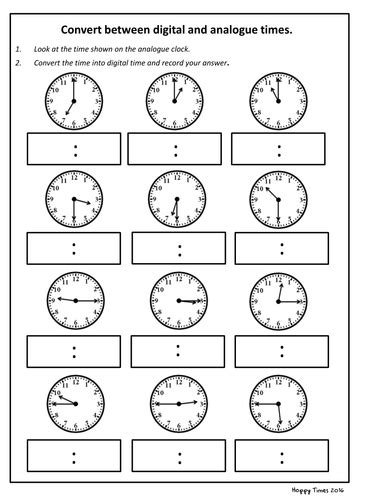 convert analogue to digital time worksheet ks2 maths by