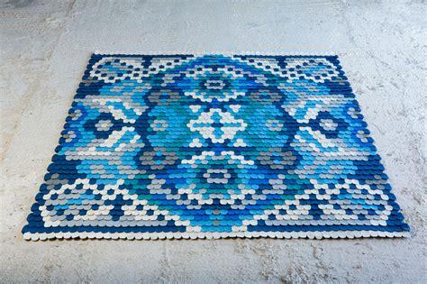 make a felt rug a traditional rug made of felt scales design milk