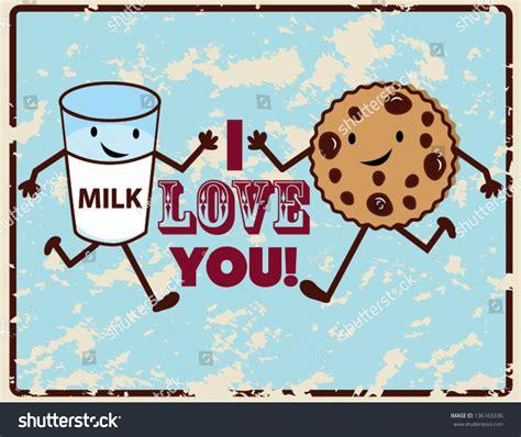 i love vintage vintage i love you poster milk stock vector 136163336