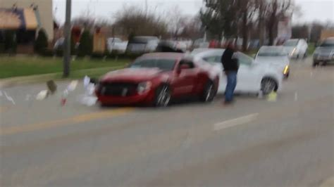 Cars And Coffee Mustang Crash by Mustang Crashes Leaving Cars And Coffee Chicago