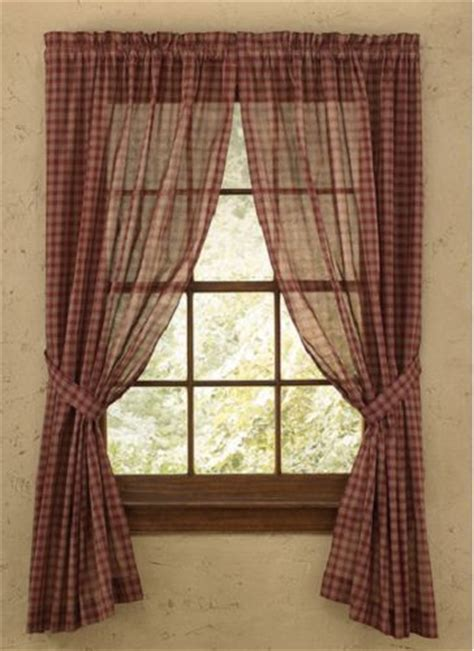 Country Sheer Curtains Sheer Park Designs Sturbridge Wine Plaid Country Curtain Panels 63 Quot Window Treatments