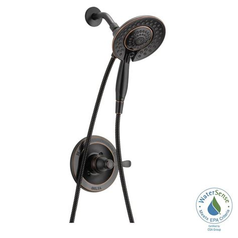 shop delta lorain oil rubbed bronze 2 handle deck mount delta porter in2ition 2 in 1 single handle 5 spray shower