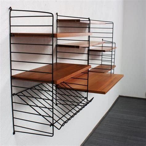 string shelving nisse strinning teak and enameled metal string shelving system 1960s string shelf system