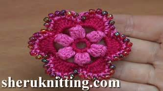 crochet flower pattern on youtube crocheted 6 petal flower with popcorn stitches tutorial