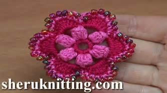crochet pattern flower youtube crocheted 6 petal flower with popcorn stitches tutorial