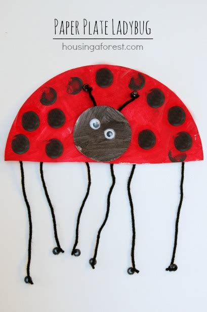 Ladybug Paper Plate Craft - paper plate ladybug housing a forest