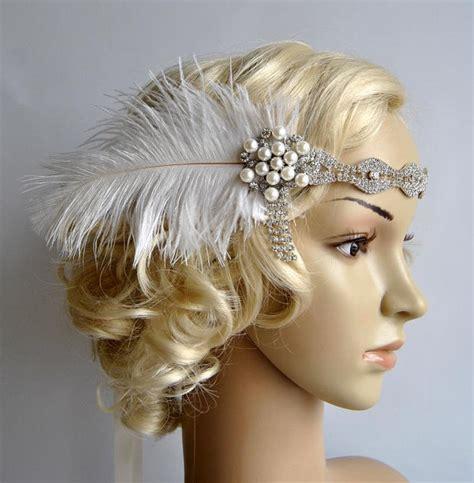 great gatsby prom hair rhinestone headband headpiece with feathers great gatsby
