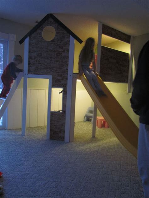 our crooked story kids crooked house i built an 8 x4 2 story indoor playhouse with a slide in