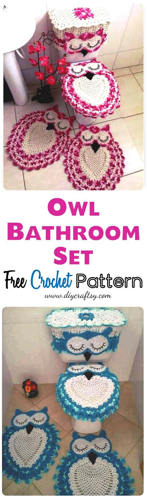 owl bathroom sets owl bathroom set free crochet pattern diy crafts