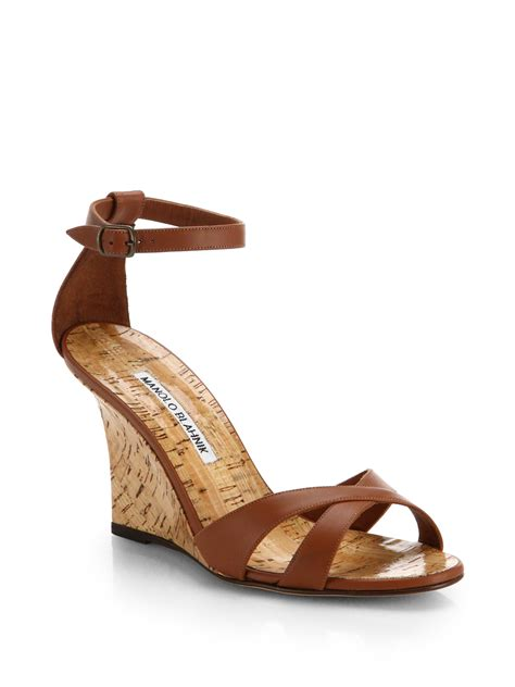 manolo blahnik sandals lyst manolo blahnik leather wedge sandals in brown