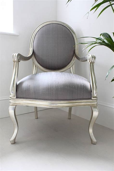 silver armchair french silver armchair lilac cover by out there interiors notonthehighstreet com