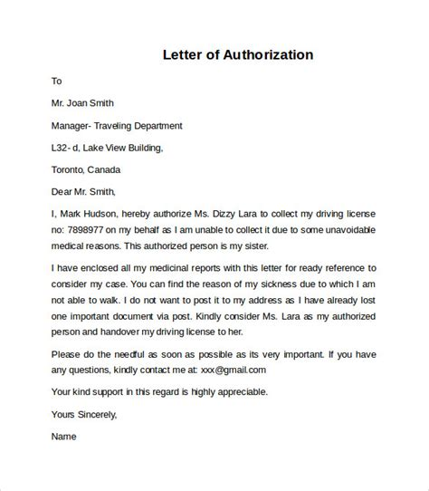 authorization letter representation letter of authorization 10 free documents in