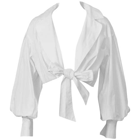 Tie Top Blouse White 1980 s montana white cropped tie up blouse at 1stdibs