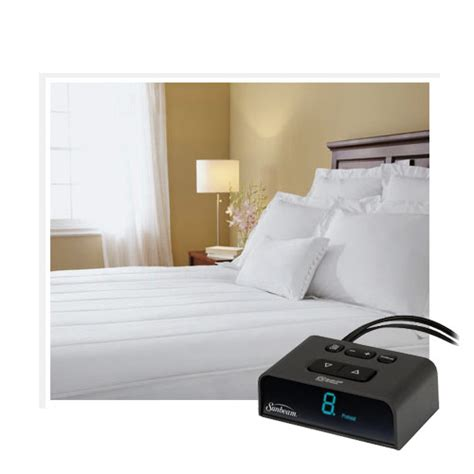 Heated Bed Mattress by Sunbeam Thermofine Quilted Striped Heated Electric Mattress Pad Size Ebay