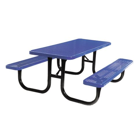 shop ultra play 72 quot l blue rectangular picnic table with