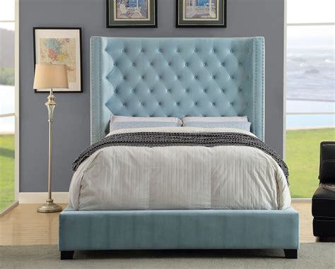 blue upholstered bed mirabelle cm7679bl upholstered bed in blue fabric
