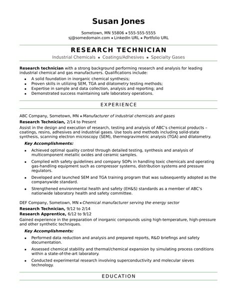 Research Experience Resume by Research Technician Resume Sle