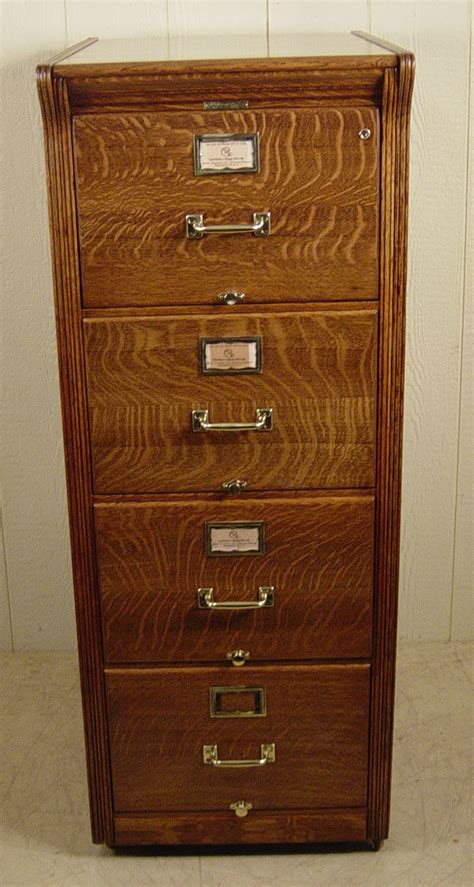 small wood oak file cabinet with 4 drawer for small home