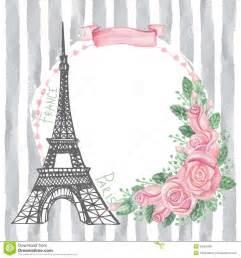 Paris Themed Room Decor Paris Vintage Card Eiffel Tower Watercolor Rose Stock