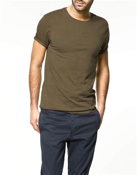 Zaraman Cotton Shirt zara slim fit t shirt in for khaki lyst