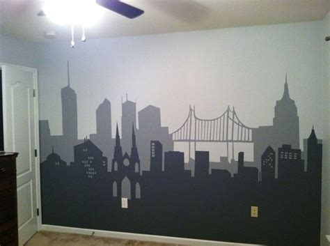 batman bedroom i painted for using clipart silhouettes painters and a craft projector