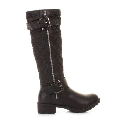 knee high boots cheap womens black knee high quilted biker style zip