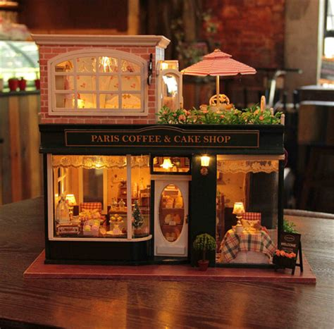doll house music large diy dollhouse miniature with light music lovely assembly model paris coffee shop