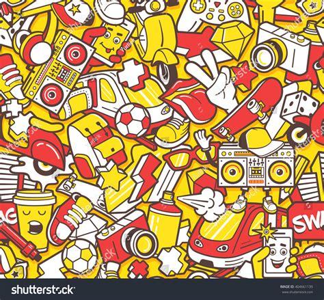 pattern graffiti artists graffiti seamless pattern urban lifestyle line stock