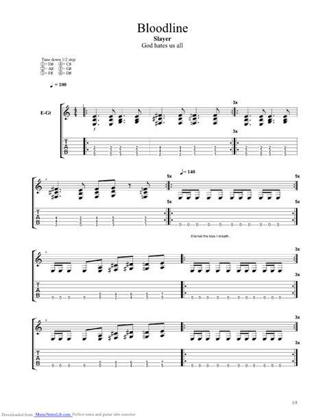 Bloodline guitar pro tab by Slayer @ musicnoteslib.com