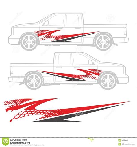 Auto Decal Templates by Truck And Vehicle Decal Graphic Design Stock Vector