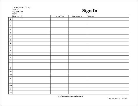 free easy copy basic company sign in sheet with signatures