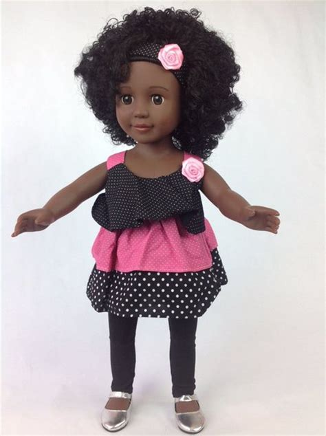 black doll 18 inch american doll with curly hair