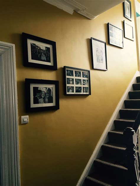 mustard feature wall hall stairs  landing dulux