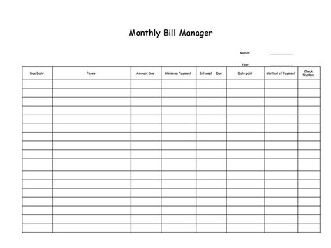 list of bills to pay template list of bills to pay template 16 best printable