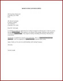 Resignation Letter For Personal Reasons With One Month Notice Sle For Resignation Letter One Month Notice Docoments