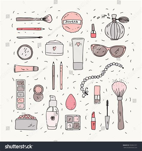 how to make a doodle sign up makeup items collection vector stock vector