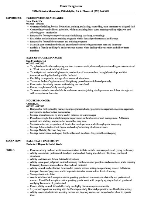 house manager jobs house manager resume sles velvet jobs