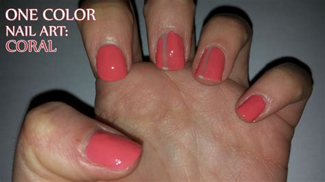 coral color nails one color nail coral