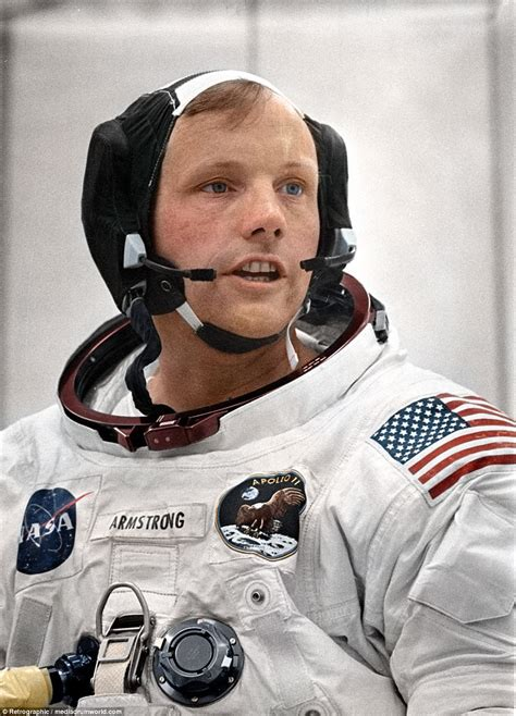 biography of neil armstrong astronaut faces from the past brought to life in colourised photos