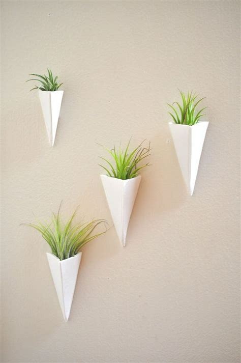 trending wall mount mini air plant planter white and
