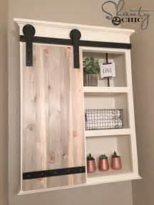 diy sliding barn door bathroom cabinet shanty chic your own built shelves utilize step