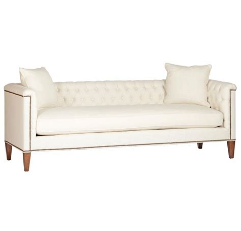 tufted linen sofa thatcher modern classic tufted ivory linen sofa kathy
