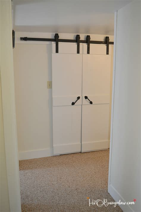 Interior Diy Double Barn Door Tutorial H20bungalow How To Install Barn Doors Inside
