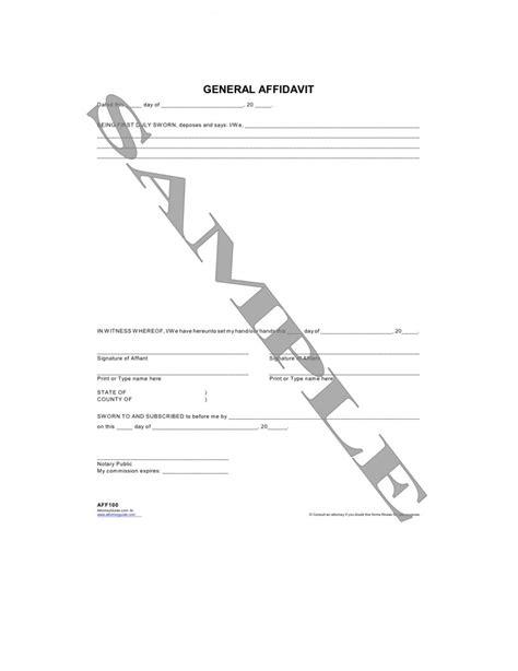 general affidavit general affidavit form free printable documents