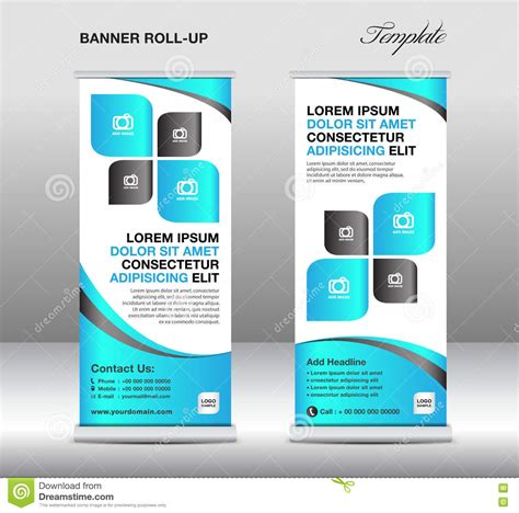 Roll Up Banner Stand Template Stand Design Banner Template Blue Stock Vector Image 71530642 Standing Banner Design Template