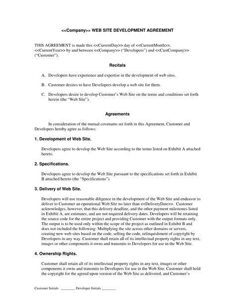 website design agreement template web development contract developer centered web