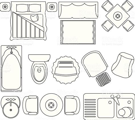 furniture icons for floor plans simple furniture floor plan set2 stock vector