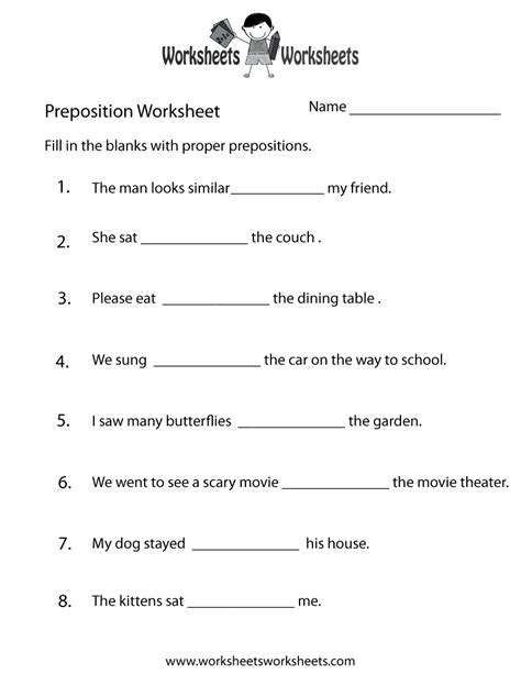 Worksheets Free by Free Prepositions Worksheets 1st Grade